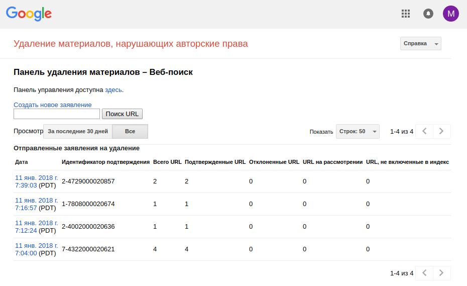 Подача жалобы DMCA Google на удаление из поисковой выдачи